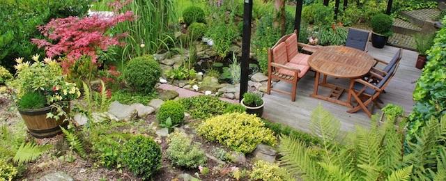 table-plant-lawn-flower-pond-cottage