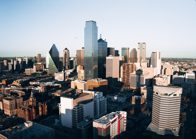 skyline of texas. commercial buildings